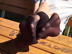 Foot Fetish, Pantyhose, Outdoor, Stockings