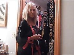 Blonde, Mature, Granny, Lingerie, High Heels